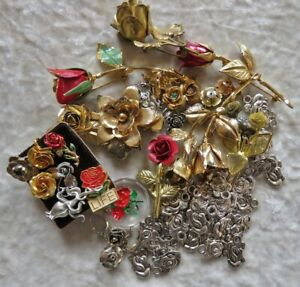 Collection of Vintage Metal Rose Pins and Newer Charms