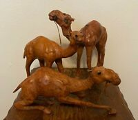 """Set of 3 Vintage Dromedary Leather Wrapped Camel Figures Nativity Statues - 12"""""""