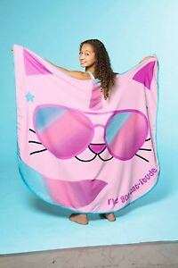 Girls Jumbo Beach Blanket – Pink Caticorn Cat Unicorn Shaped Towel Design 60x60