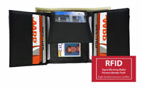 BLACK RFID BLOCKING MENS LEATHER TRIFOLD WALLET ID CARDS THIN  FLAP TOP
