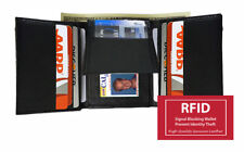 BLACK RFID SIGNAL BLOCKING MENS LEATHER ID CARDS THIN TRIFOLD FLAP TOP WALLET
