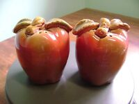 """LARGE RED AND GREEN LEAF """"APPLE""""  SALT AND PEPPER SHAKERS!!!!"""