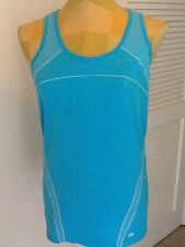Gap Fit Size XL Wicking, Breathable, Seamless  Racerback Knit Top Aqua/White NWT