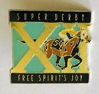 Super Derby XII Free Spirit's Joy Horse Racing Pin Badge Rare Vintage (C14)