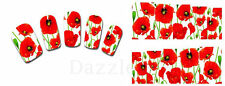Nail Art Sticker Water Decals Transfer Stickers Poppies Flowers (DX1390)