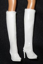 SHOES ~ BARBIE DOLL ANDY WARHOL MODEL MUSE WHITE FAUX LEATHER BELOW KNEE BOOTS
