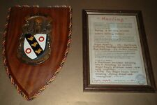 HARDING FAMILY CREST COAT OF ARMS PLAQUE SHIELD - Hand painted + framed history