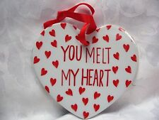 You Melt My Heart White Ceramic Hanging Plaque Bedroom Valentine Birthday