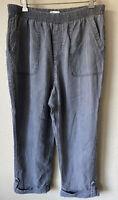Coldwater Creek 12 P Elastic Waist Cuffed Tencel Crochet Crop Capri Pants Womens