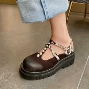 Women Fashion Punk Pearls T-strap Shoes Serpentine Collegiate Oxford Shoes Q1115