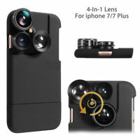 For iPhone 8 6 7 Plus Case 4 in1 Camera Lens Kit Fisheye Macro Wide Angle Lens