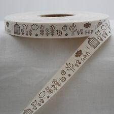 Cotton Fabric Ribbon Trim - Sewing Label - Bird Birdcage Flower Tree