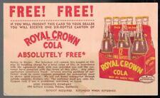 Vintage Pre-Paid Postal Card Present For Free 6 Pack Of Royal Crown Cola