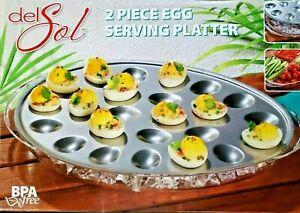 DEL SOL Stainless Steel Egg Serving Platter w/ Ice Chiller Tray BRAND NEW
