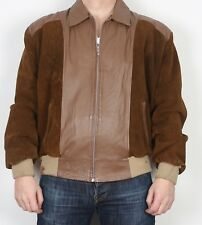 """Suede Leather Bomber 80's Jacket Coat Large XL 44"""" Brown (M4G)"""