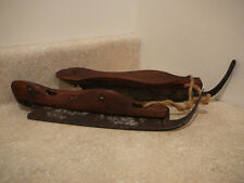 ANTIQUE PRIMITIVE WOOD ICE SKATES HAND FORGED CURVED IRON BLADES LEATHER STRAP