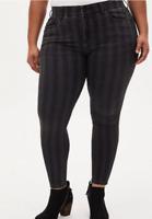 Torrid Black & Grey Striped Bombshell Skinny Jeans Women's Plus 18 20 22 24 26