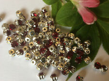 Perline sfuse di strass rotondi in argento