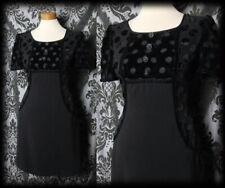 Gothic Black Velvet Polka Dot MESMERISM Pocket Dress 6 8 Vintage Retro Pin Up