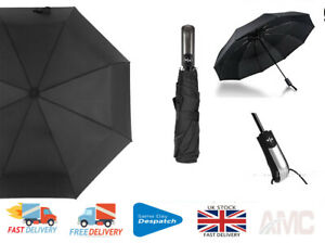 Auto Umbrella Black Open & Close Windproof Easy Folding AUTO ON & OFF +Uk Seller