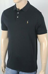 Polo Ralph Lauren Black Cotton Interlock Shirt Classic Fit Multi Color Pony NWT