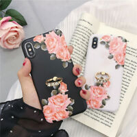 For iPhone X XS Max XR 6S 7 8 Luxury Bling Diamond Flower Case with Ring Holder