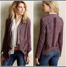 Anthropologie Moth Draped Pointelle Cardigan Burgundy Wine Open Front Knit Large