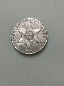 1861 Silver Three Cent Piece About Uncirculated Condition