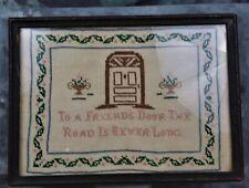 Vintage Collectible Framed Cross Stitch Sampler Picture