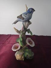"Vtg Andrea by Sadek Indigo Bunting #6060 Ceramic Porcelain Bird Figurine 8"""