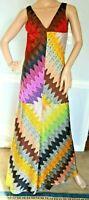 Missoni Orange Label Metallic Zigzag Long Maxi Gown Sun Dress US 2 4  / IT 40