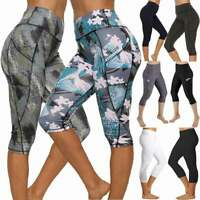 Womens 3/4 Capri Yoga Pants Running Gym Workout Pockets Sports Cropped Leggings