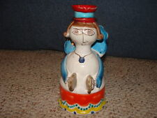 DeSimone Pottery Candlestick Made in Italy For Vietri Woman Angel Cymbals Folk