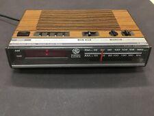 Vintage 80's GE Alarm radio clock 7-4624B wood grain Works tested clean