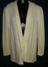 VTG Retro White Cardigan Sweater M Country Craft MED 1S21 100 % Acrylic Funky