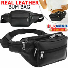 9c0ea681d858 Real Leather Bum Bag Travel Money Fanny Wallet Waist Belt Pouch Holiday Pack  UK