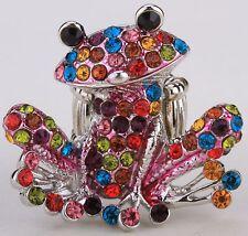 Frog Stretch Ring Crystal Rhinestone Animal Fashion Jewelry Multi-Color RA30