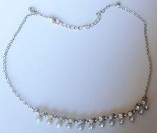 collier rétro couleur argent pampille solitaire cristal diamant et perle 494