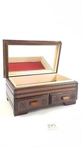 Wooden Jewellery Box Chest Trinket with Mirror. Vintage.Hand Made.UK SELLER