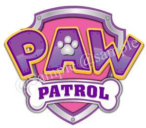 1 x PRECUT Paw patrol logo PINK or BLUE Icing Cake Topper Various Pick Size