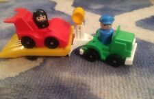 Vintage Fisher Price Little People Indy Racer, Race Car & Rig #347-1989-COMPLETE