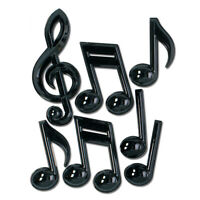 Black Musical Notes Hanging Decorations for music classroom, plastic, TWO Packs
