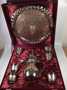 Nice Vintage 8 Pc Dallah Arabic Coffee Pot Serving Set In Case