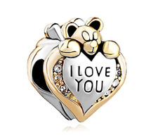 Heart Charm I Love You Charms Teddy Bear Crystal Bead for Bracelet Gift