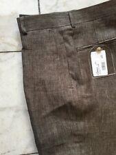 NWT  Mens Olive Color 100% Linen Dress Pant Regular Flat Front Size 30
