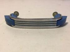 Vintage Chrome+BLUE Lines Plastic Hoosier Drawer Pull Cabinet DoorHandle Amerock