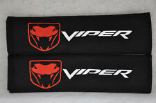 """NEW Black Seat Belt Cover Shoulder Pad Pair Embroidery Dodge Viper """"Fangs"""" Logo"""