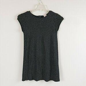 Zara Girls Casual Collection Black Gold Polka Dot Short Sleeve Dress Size 11/12