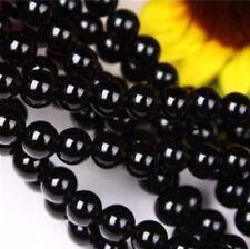 8mm Black Agate Onyx Gemstone Round Loose Bead 15'' AA