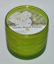 BATH & BODY WORKS VANILLA BEACH FLOWER SCENTED CANDLE 3 WICK 13.5OZ LARGE GREEN